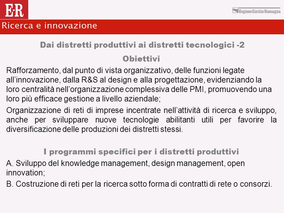 Dai distretti produttivi ai distretti tecnologici -2 Obiettivi Rafforzamento, dal punto di vista organizzativo, delle funzioni legate allinnovazione,