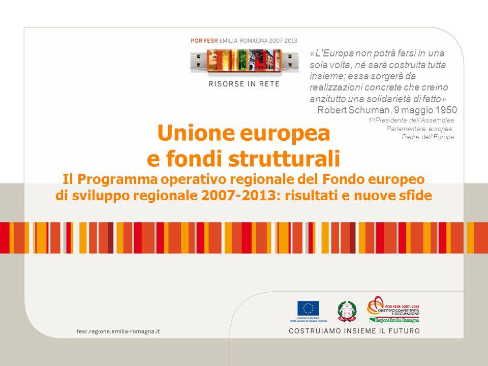 Unione europea e fondi strutturali Il Programma operativo regionale del Fondo europeo di sviluppo regionale 2007-2013: risultati e nuove sfide «L Europa non potrà farsi in una sola volta, né sarà costruita tutta insieme; essa sorgerà da realizzazioni concrete che creino anzitutto una solidarietà di fatto» Robert Schuman, 9 maggio 1950 1°Presidente dellAssemblea Parlamentare europea, Padre dellEuropa