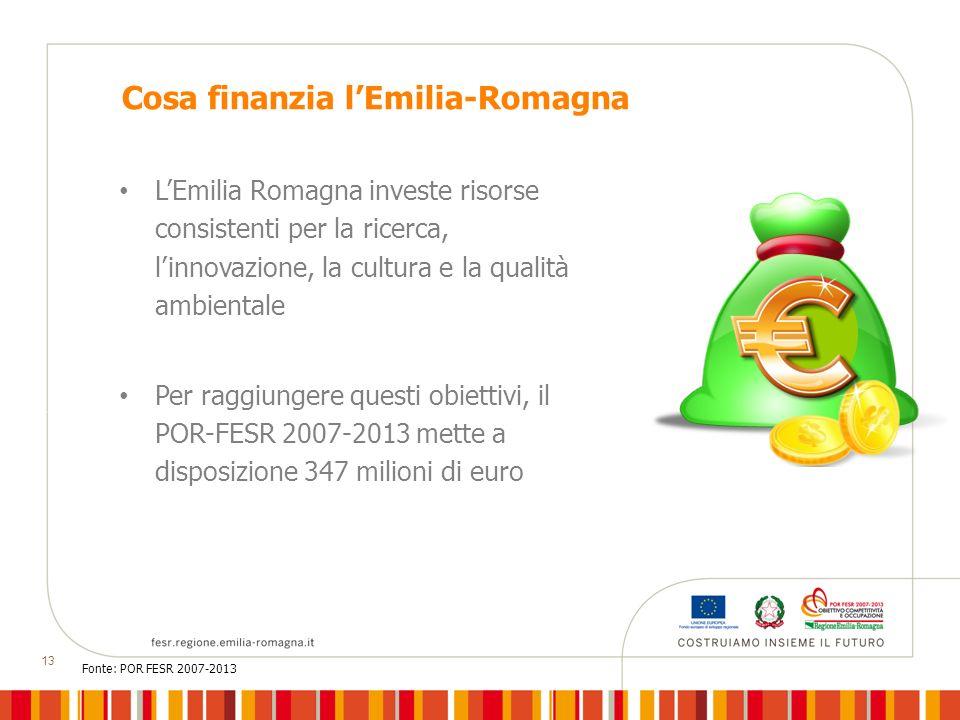 13 Cosa finanzia lEmilia-Romagna LEmilia Romagna investe risorse consistenti per la ricerca, linnovazione, la cultura e la qualità ambientale Per raggiungere questi obiettivi, il POR-FESR 2007-2013 mette a disposizione 347 milioni di euro Fonte: POR FESR 2007-2013