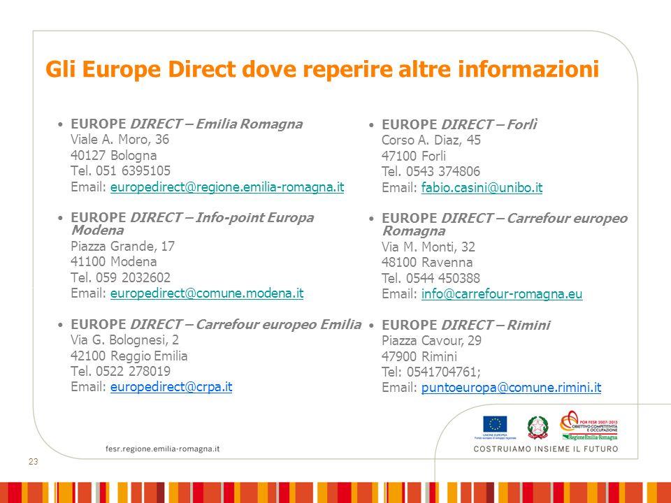 23 Gli Europe Direct dove reperire altre informazioni EUROPE DIRECT – Emilia Romagna Viale A.