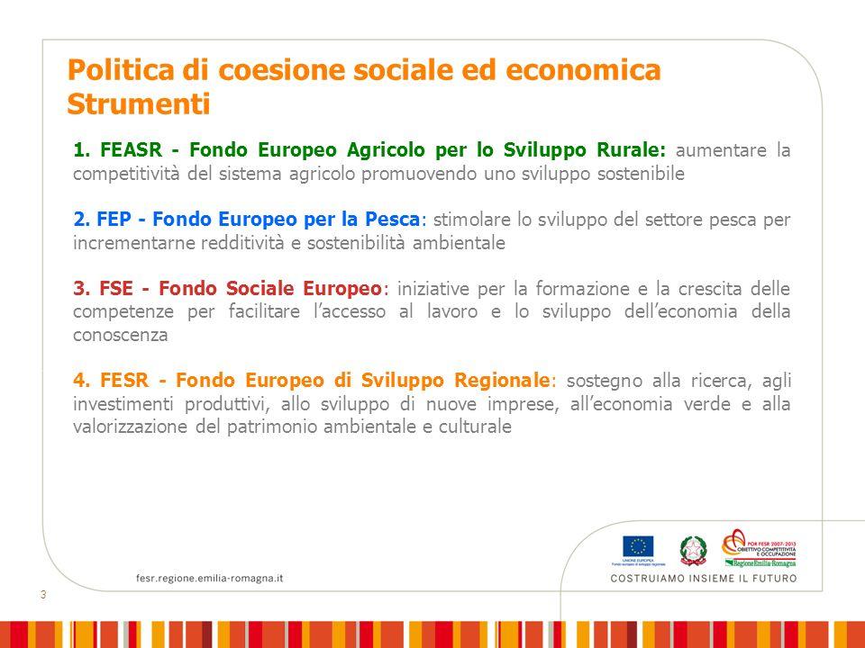 3 Politica di coesione sociale ed economica Strumenti 1.