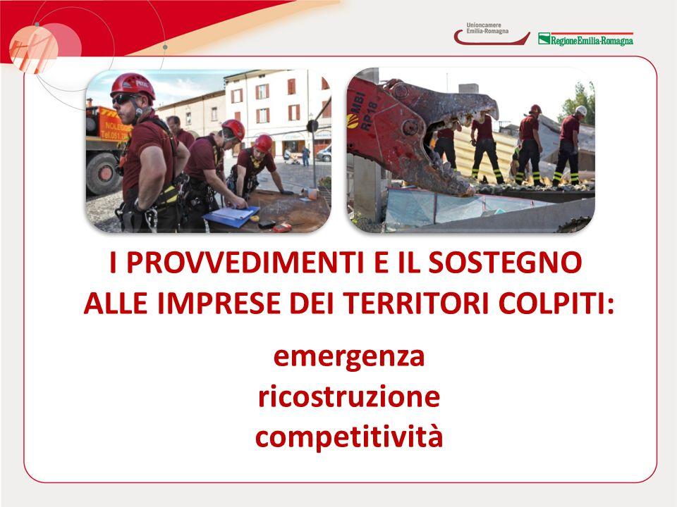 I PROVVEDIMENTI E IL SOSTEGNO ALLE IMPRESE DEI TERRITORI COLPITI: emergenza ricostruzione competitività