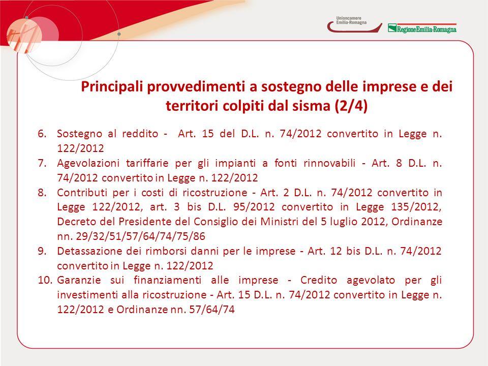 6.Sostegno al reddito - Art. 15 del D.L. n. 74/2012 convertito in Legge n.
