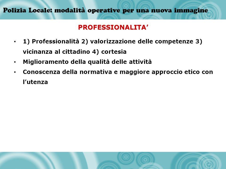 Polizia Locale: modalità operative per una nuova immagine PROFESSIONALITA 1) Professionalità 2) valorizzazione delle competenze 3) vicinanza al cittad