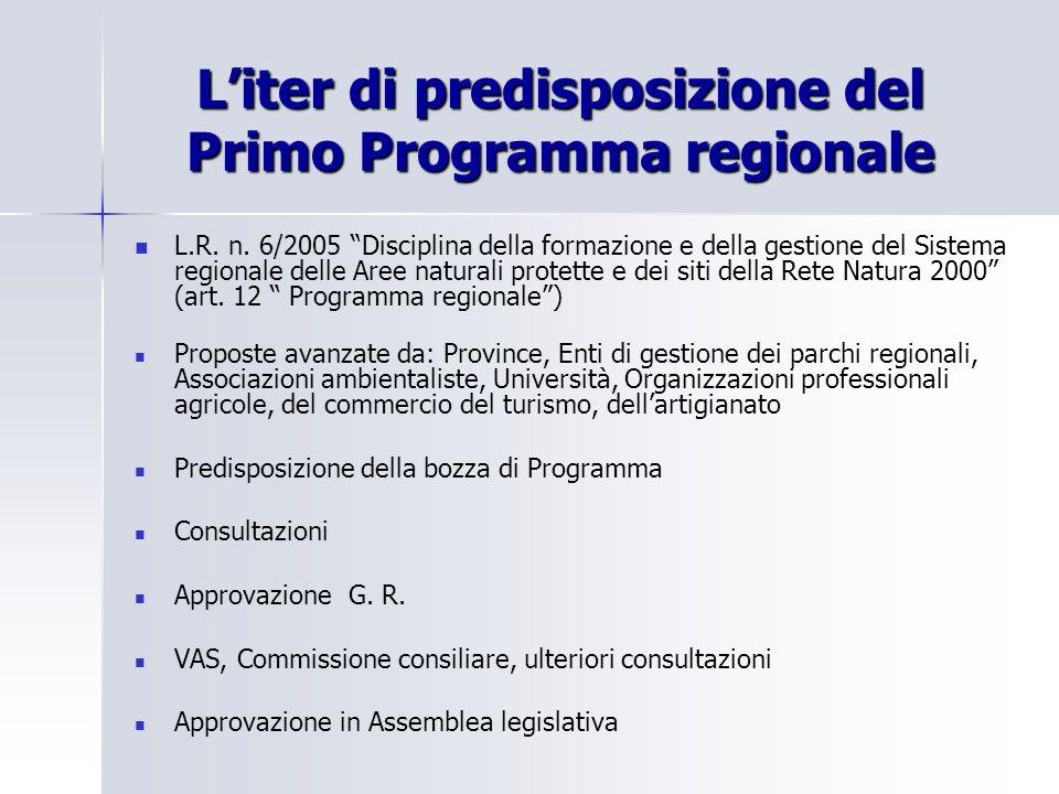Liter di predisposizione del Primo Programma regionale L.R. n. 6/2005 Disciplina della formazione e della gestione del Sistema regionale delle Aree na