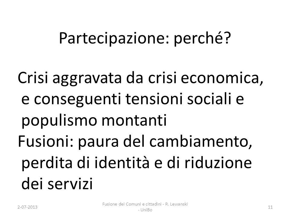 Partecipazione: perché? Crisi aggravata da crisi economica, e conseguenti tensioni sociali e populismo montanti Fusioni: paura del cambiamento, perdit