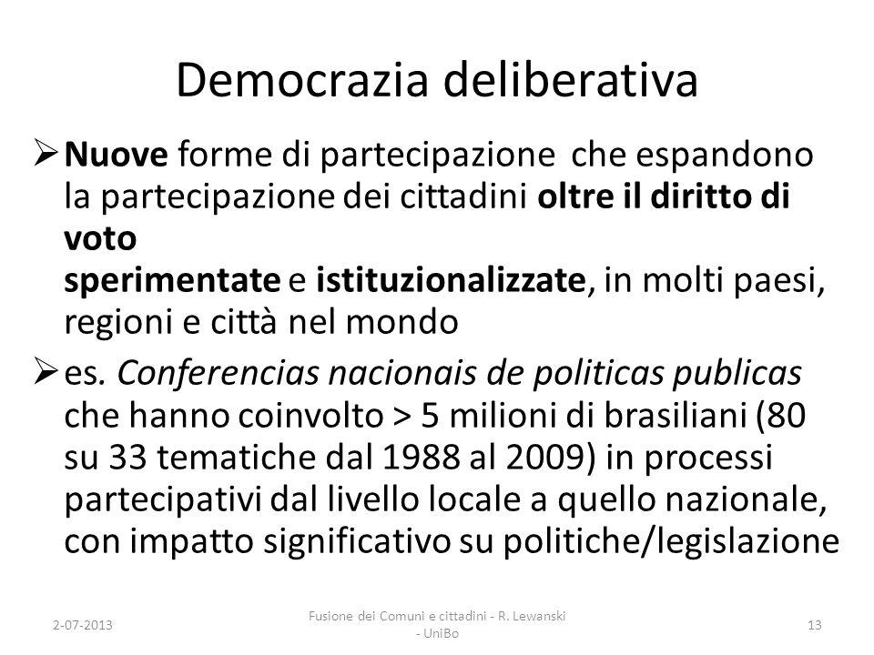 Democrazia deliberativa Nuove forme di partecipazione che espandono la partecipazione dei cittadini oltre il diritto di voto sperimentate e istituzion