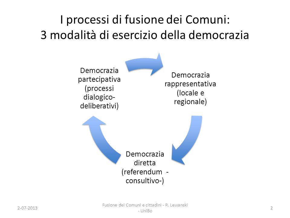 I processi di fusione dei Comuni: 3 modalità di esercizio della democrazia Democrazia rappresentativa (locale e regionale) Democrazia diretta (referen