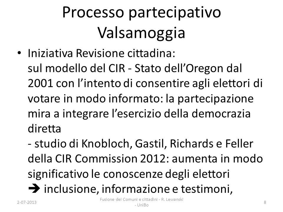 Processo partecipativo Valsamoggia Iniziativa Revisione cittadina: sul modello del CIR - Stato dellOregon dal 2001 con lintento di consentire agli ele