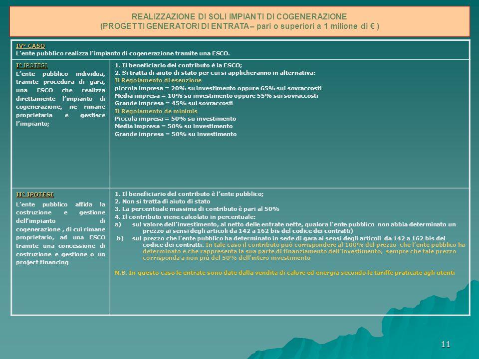 11 Possibili modalità per finanziare gli impianti e infrastrutture energetiche nelle Apea IV° CASO Lente pubblico realizza limpianto di cogenerazione tramite una ESCO.
