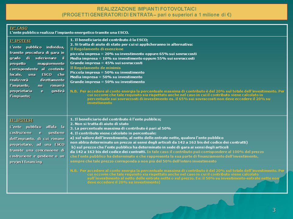Casi in cui non è possibile finanziare gli impianti e infrastrutture energetiche Nei seguenti casi: 1.