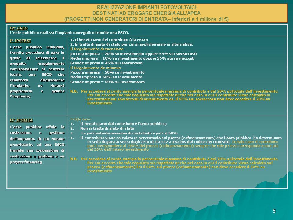 5 Possibili modalità per finanziare gli impianti e infrastrutture energetiche nelle Apea IV° CASO Lente pubblico realizza limpianto energetico tramite una ESCO.