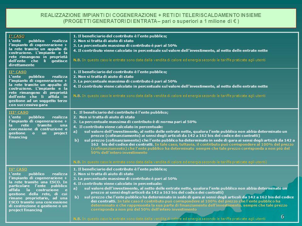 6 REALIZZAZIONE IMPIANTI DI COGENERAZIONE + RETI DI TELERISCALDAMENTO INSIEME (PROGETTI GENERATORI DI ENTRATA – pari o superiori a 1 milione di ) I° CASO Lente pubblico realizza limpianto di cogenerazione + la rete tramite un appalto di costruzione.