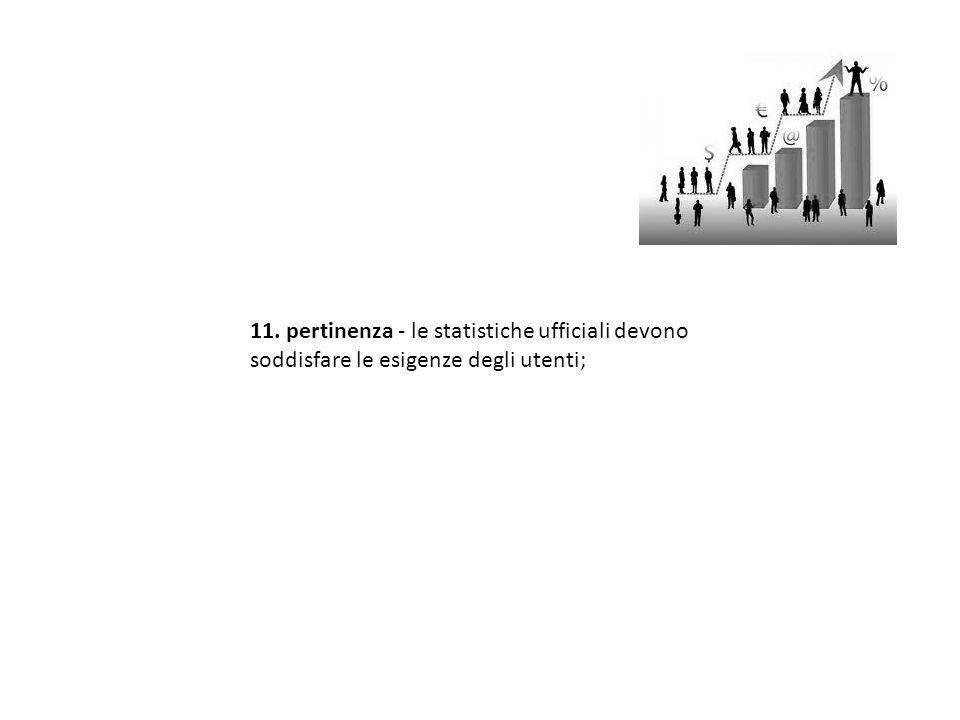 11. pertinenza - le statistiche ufficiali devono soddisfare le esigenze degli utenti;