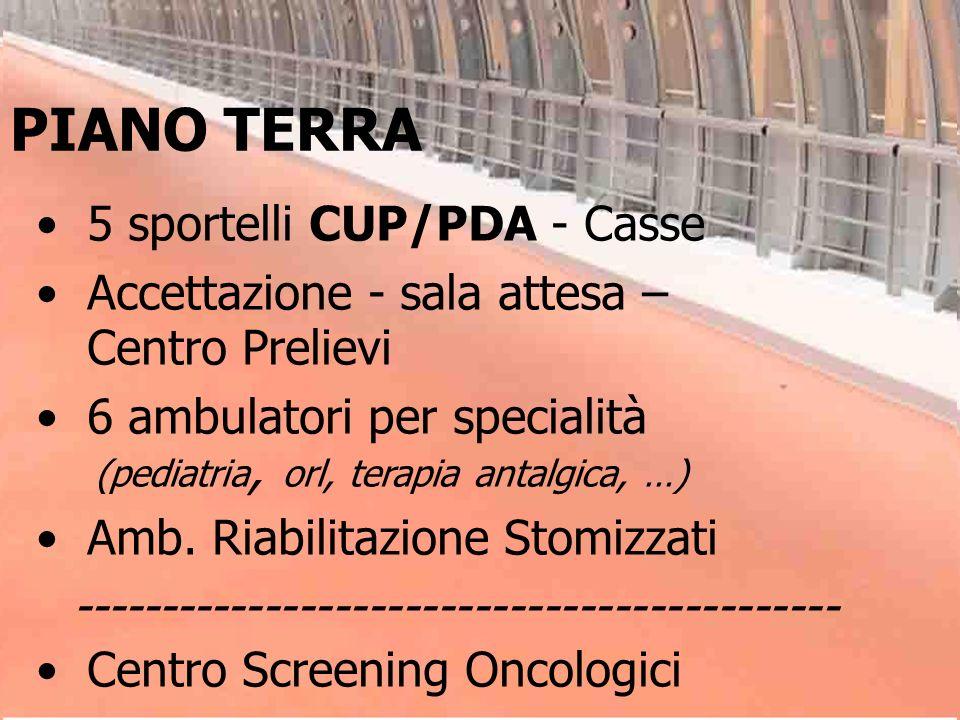 PIANO TERRA 5 sportelli CUP/PDA - Casse Accettazione - sala attesa – Centro Prelievi 6 ambulatori per specialità (pediatria, orl, terapia antalgica, …