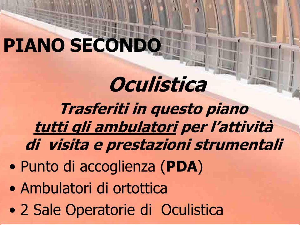 Oculistica Trasferiti in questo piano tutti gli ambulatori per lattività di visita e prestazioni strumentali Punto di accoglienza (PDA) Ambulatori di