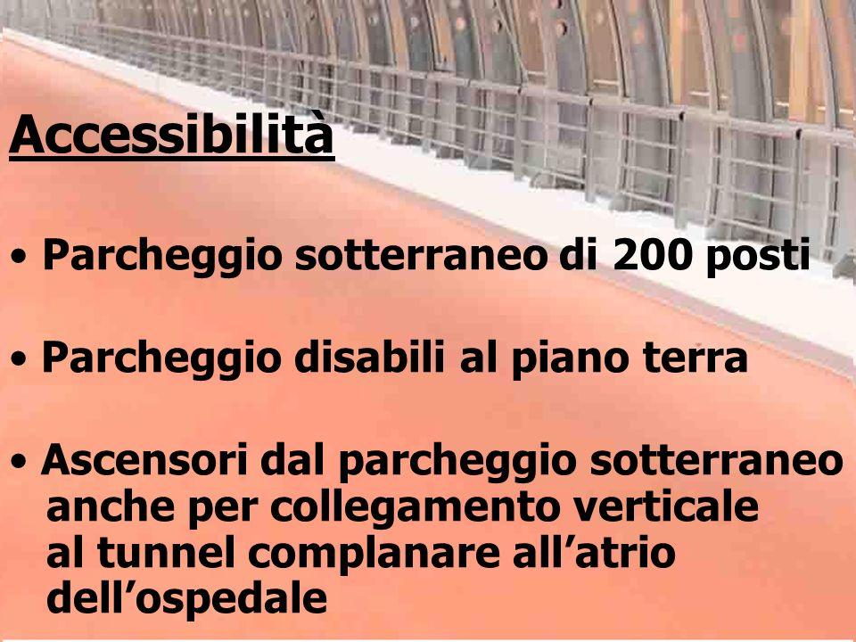 Accessibilità Parcheggio sotterraneo di 200 posti Parcheggio disabili al piano terra Ascensori dal parcheggio sotterraneo anche per collegamento verti