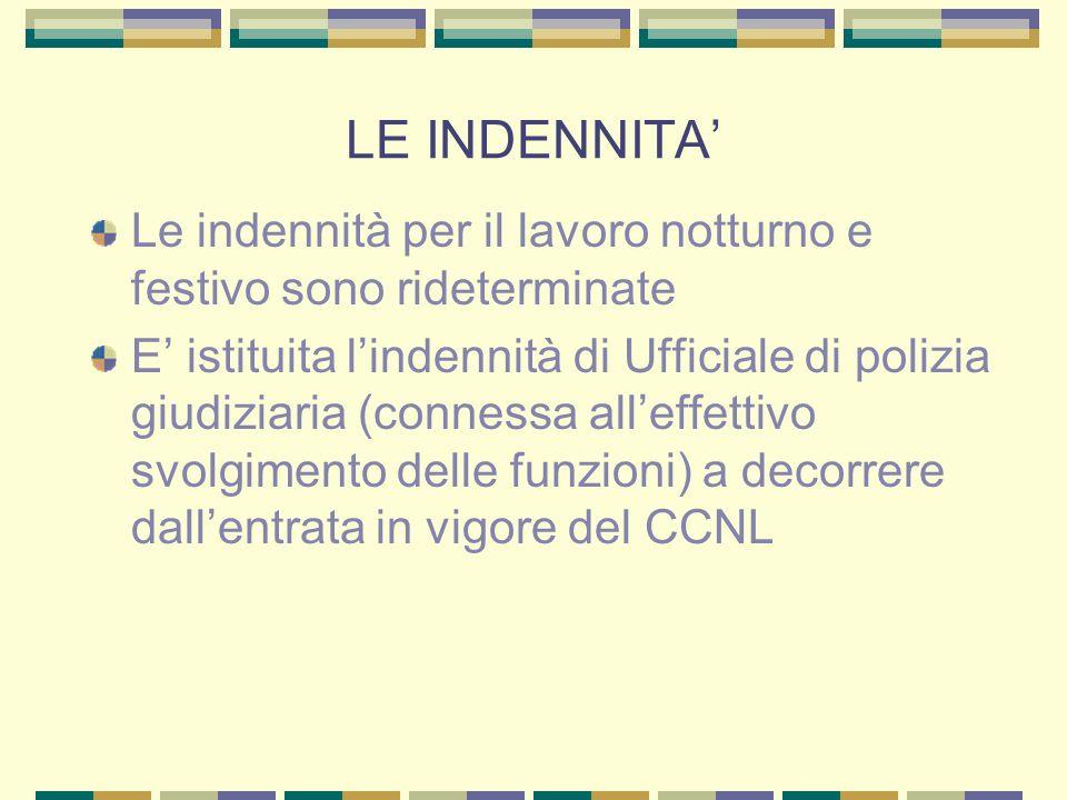 LE INDENNITA Le indennità per il lavoro notturno e festivo sono rideterminate E istituita lindennità di Ufficiale di polizia giudiziaria (connessa all