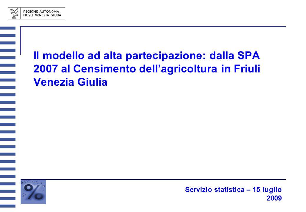 Il modello ad alta partecipazione: dalla SPA 2007 al Censimento dellagricoltura in Friuli Venezia Giulia Servizio statistica – 15 luglio 2009