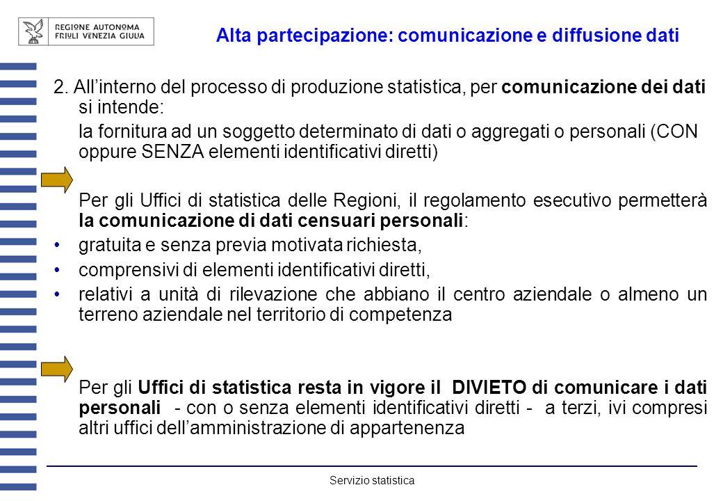 Servizio statistica Alta partecipazione: comunicazione e diffusione dati 2. Allinterno del processo di produzione statistica, per comunicazione dei da