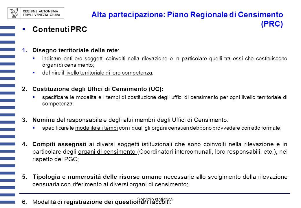 Servizio statistica Alta partecipazione: Piano Regionale di Censimento (PRC) Contenuti PRC Disegno territoriale della rete: indicare enti e/o soggetti