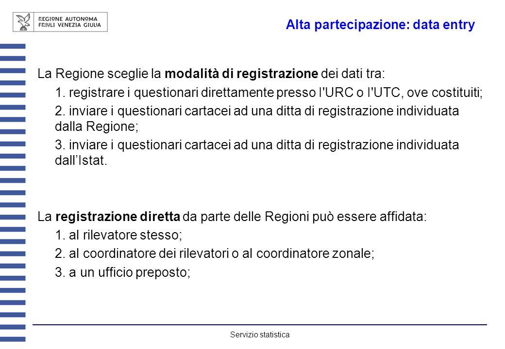Servizio statistica Alta partecipazione: data entry La Regione sceglie la modalità di registrazione dei dati tra: 1. registrare i questionari direttam