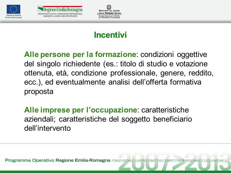 Incentivi Alle persone per la formazione: condizioni oggettive del singolo richiedente (es.: titolo di studio e votazione ottenuta, età, condizione pr