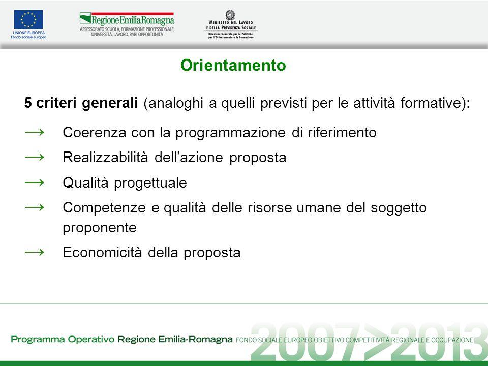 Orientamento 5 criteri generali (analoghi a quelli previsti per le attività formative): Coerenza con la programmazione di riferimento Realizzabilità d