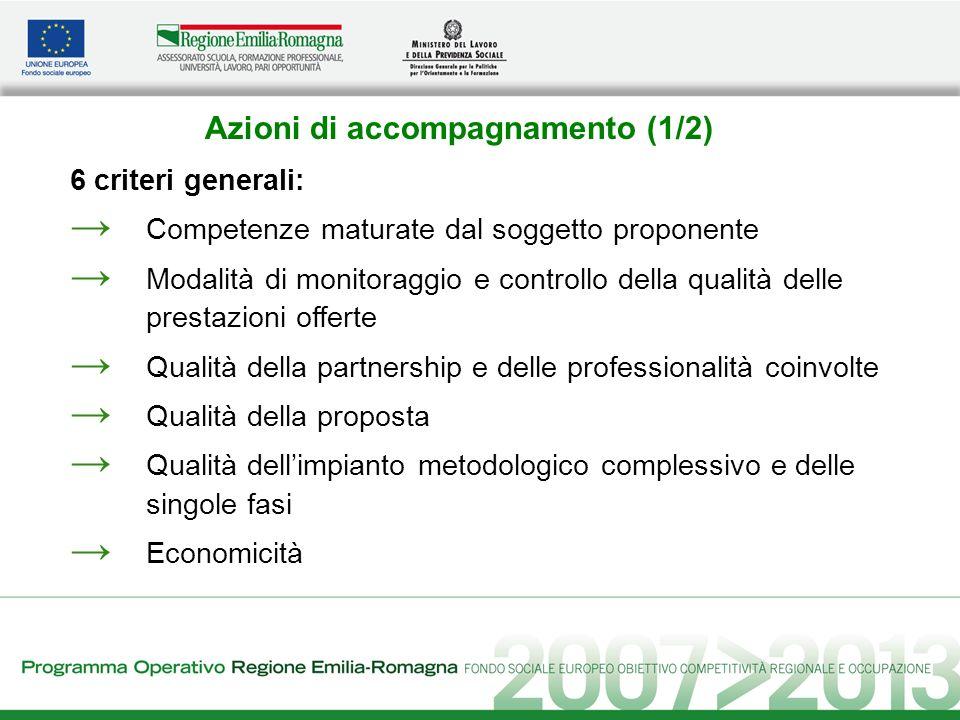 Azioni di accompagnamento (1/2) 6 criteri generali: Competenze maturate dal soggetto proponente Modalità di monitoraggio e controllo della qualità del