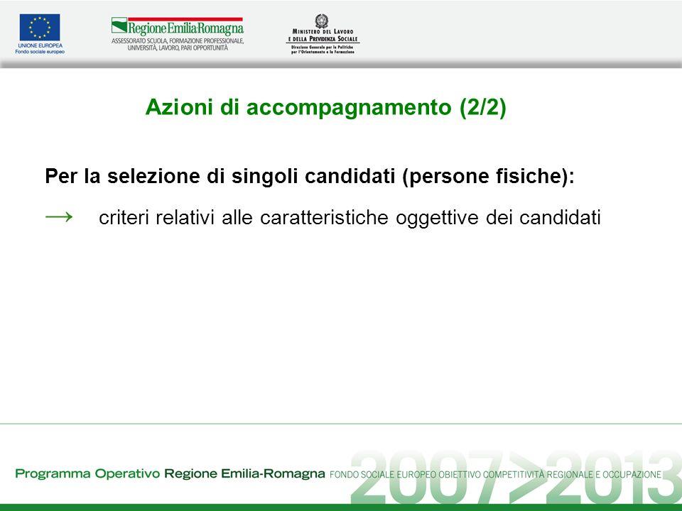 Azioni di accompagnamento (2/2) Per la selezione di singoli candidati (persone fisiche): criteri relativi alle caratteristiche oggettive dei candidati