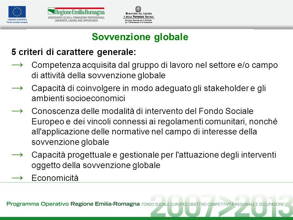 Sovvenzione globale 5 criteri di carattere generale: Competenza acquisita dal gruppo di lavoro nel settore e/o campo di attività della sovvenzione glo