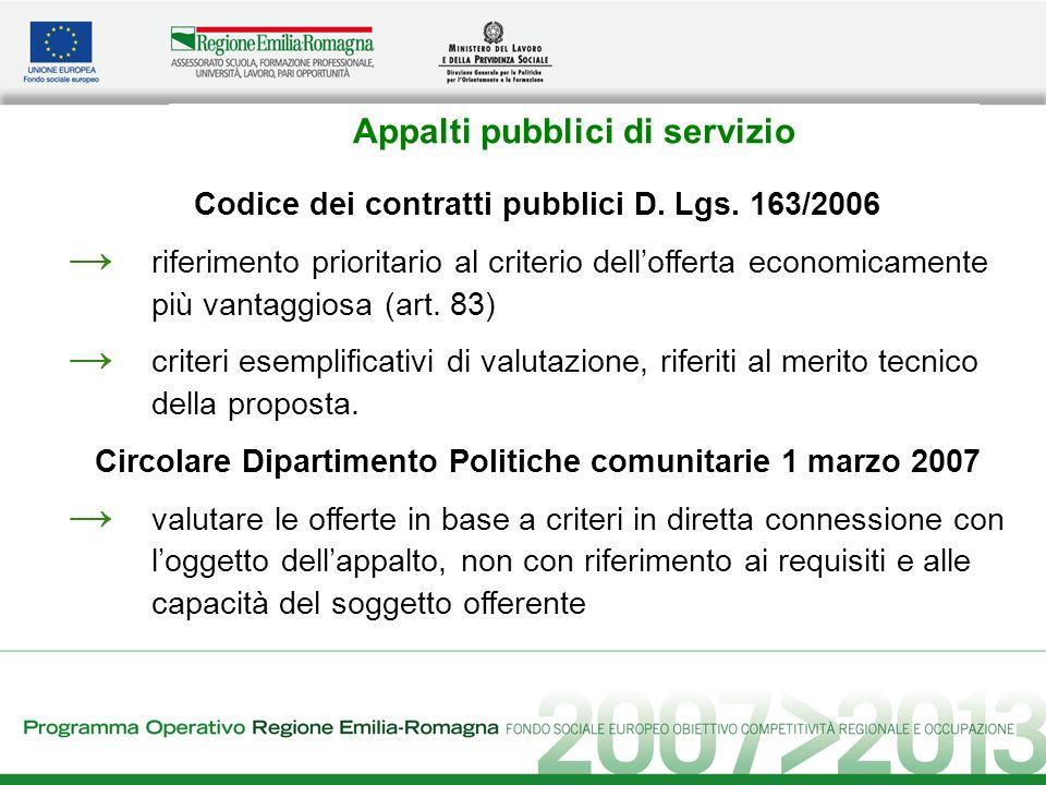 Appalti pubblici di servizio Codice dei contratti pubblici D. Lgs. 163/2006 riferimento prioritario al criterio dellofferta economicamente più vantagg