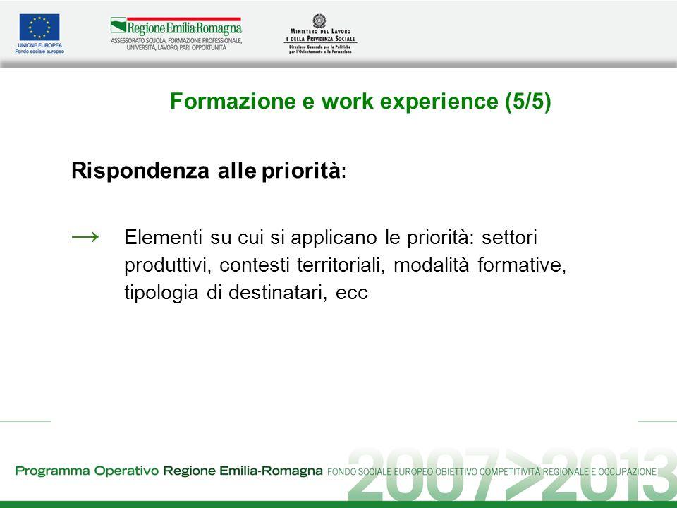 Formazione e work experience (5/5) Rispondenza alle priorità : Elementi su cui si applicano le priorità: settori produttivi, contesti territoriali, modalità formative, tipologia di destinatari, ecc