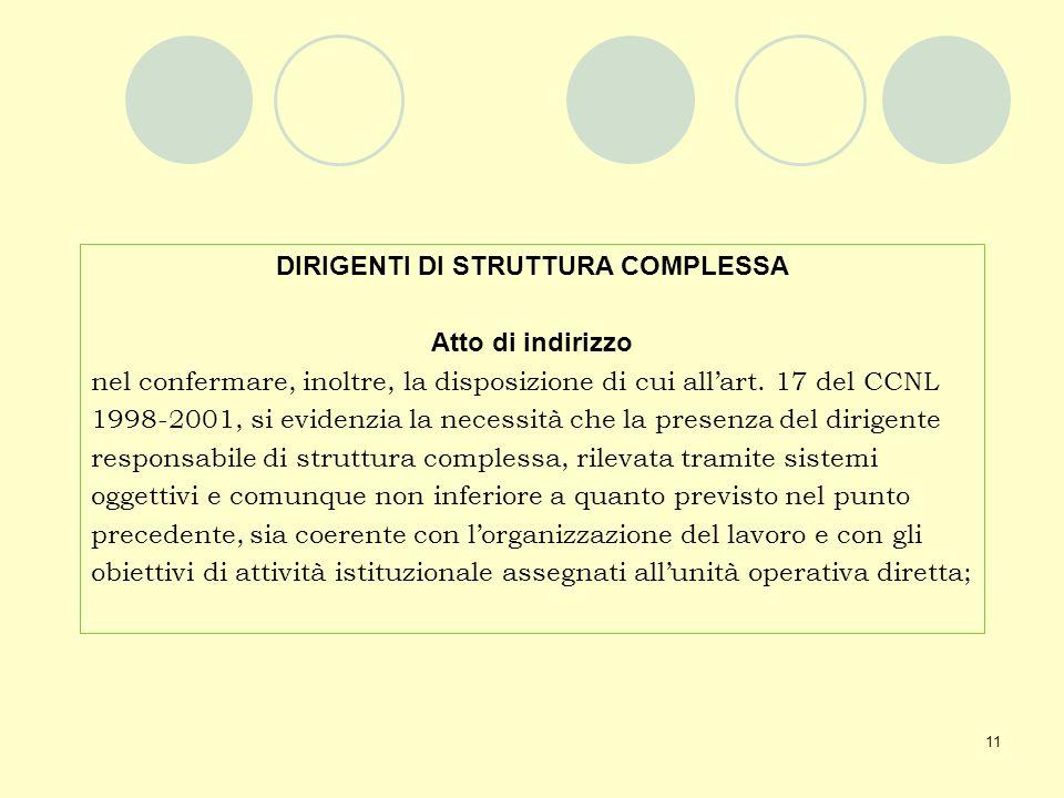 11 DIRIGENTI DI STRUTTURA COMPLESSA Atto di indirizzo nel confermare, inoltre, la disposizione di cui allart. 17 del CCNL 1998-2001, si evidenzia la n