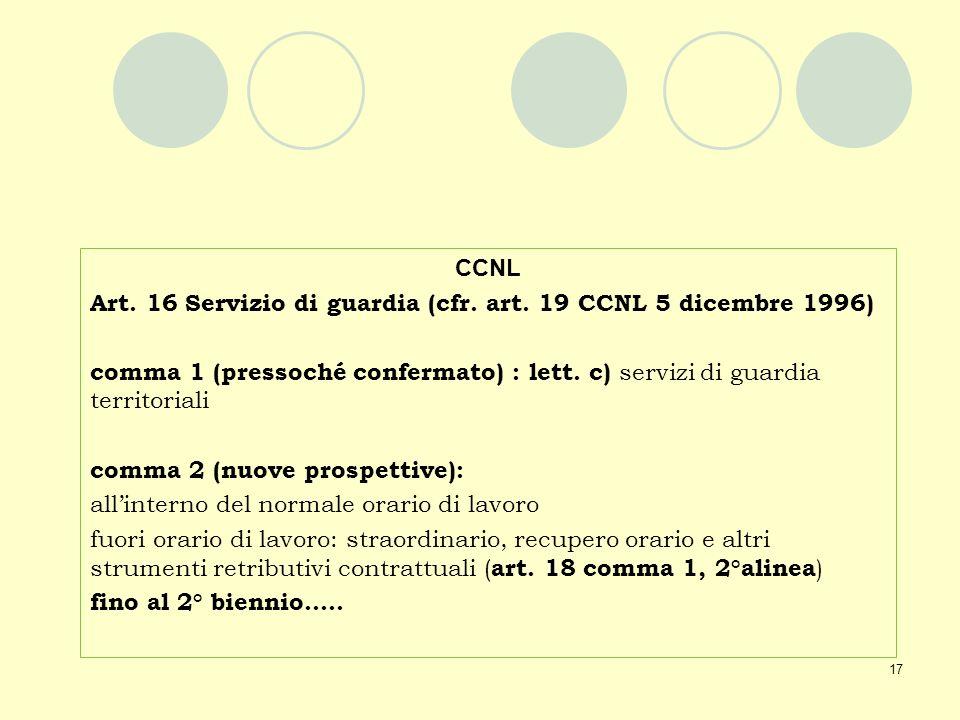 17 CCNL Art. 16 Servizio di guardia (cfr. art. 19 CCNL 5 dicembre 1996) comma 1 (pressoché confermato) : lett. c) servizi di guardia territoriali comm