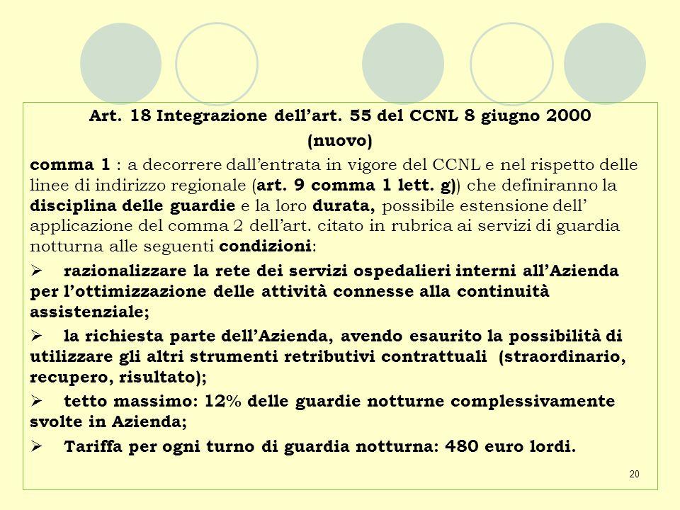 20 Art. 18 Integrazione dellart. 55 del CCNL 8 giugno 2000 (nuovo) comma 1 : a decorrere dallentrata in vigore del CCNL e nel rispetto delle linee di