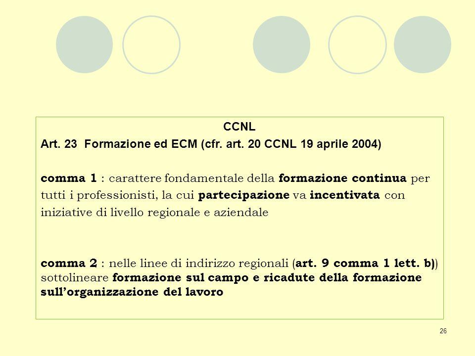 26 CCNL Art. 23 Formazione ed ECM (cfr. art. 20 CCNL 19 aprile 2004) comma 1 : carattere fondamentale della formazione continua per tutti i profession