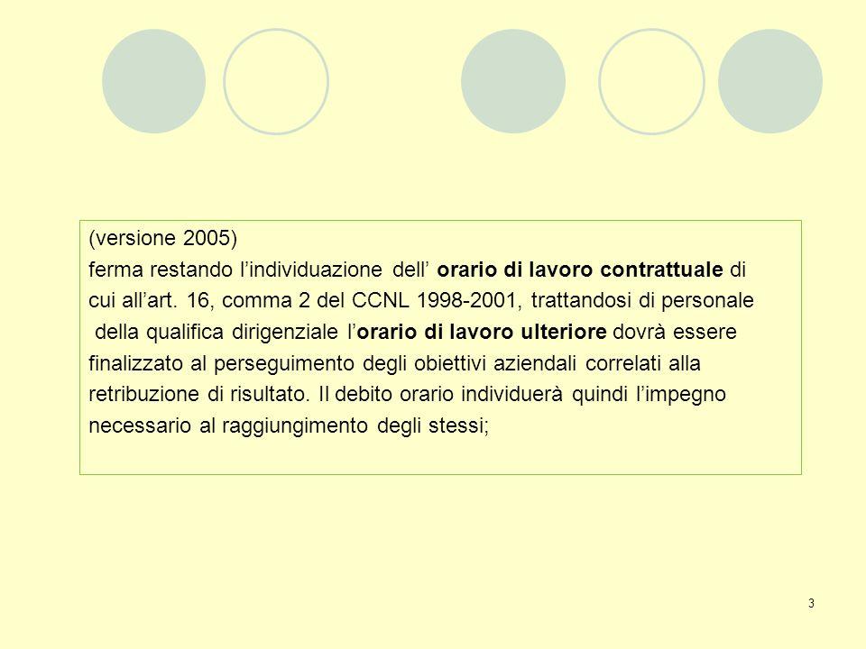 3 (versione 2005) ferma restando lindividuazione dell orario di lavoro contrattuale di cui allart. 16, comma 2 del CCNL 1998-2001, trattandosi di pers