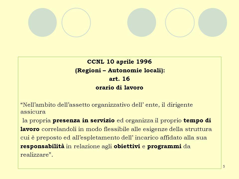 5 CCNL 10 aprile 1996 (Regioni – Autonomie locali): art. 16 orario di lavoro Nellambito dellassetto organizzativo dell ente, il dirigente assicura la