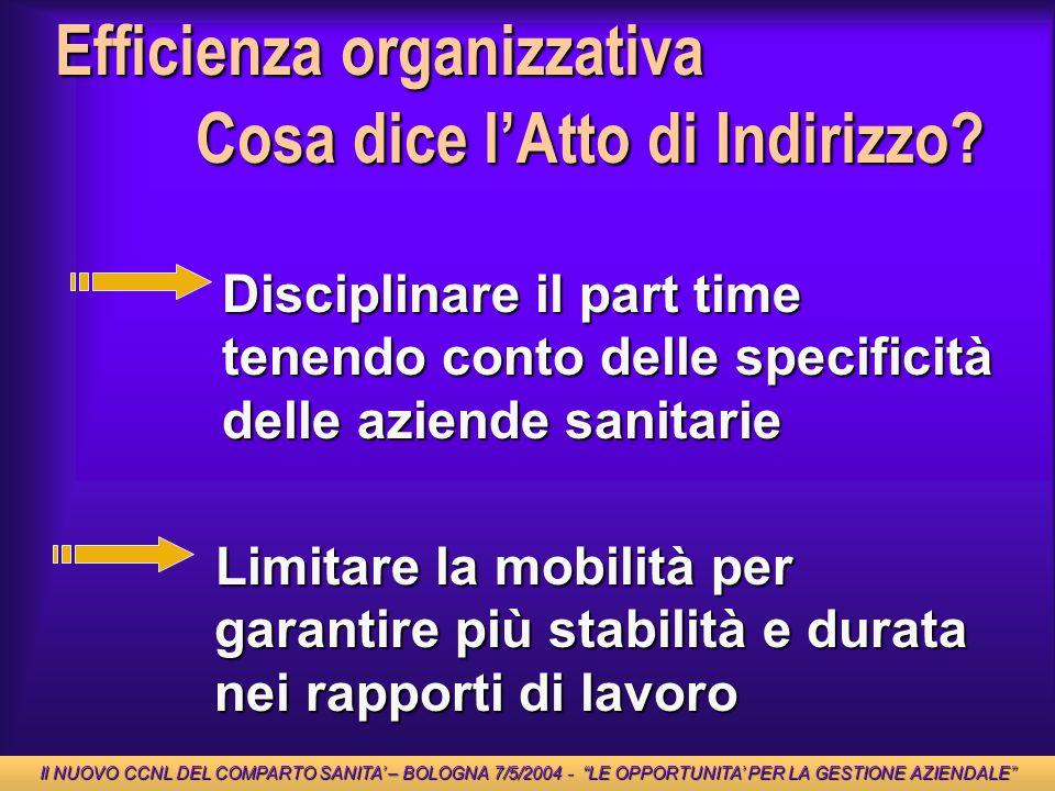Efficienza organizzativa Cosa dice lAtto di Indirizzo? Disciplinare il part time tenendo conto delle specificità delle aziende sanitarie Limitare la m
