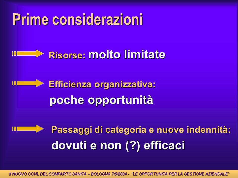 Prime considerazioni Risorse: molto limitate Risorse: molto limitate Passaggi di categoria e nuove indennità: Passaggi di categoria e nuove indennità: