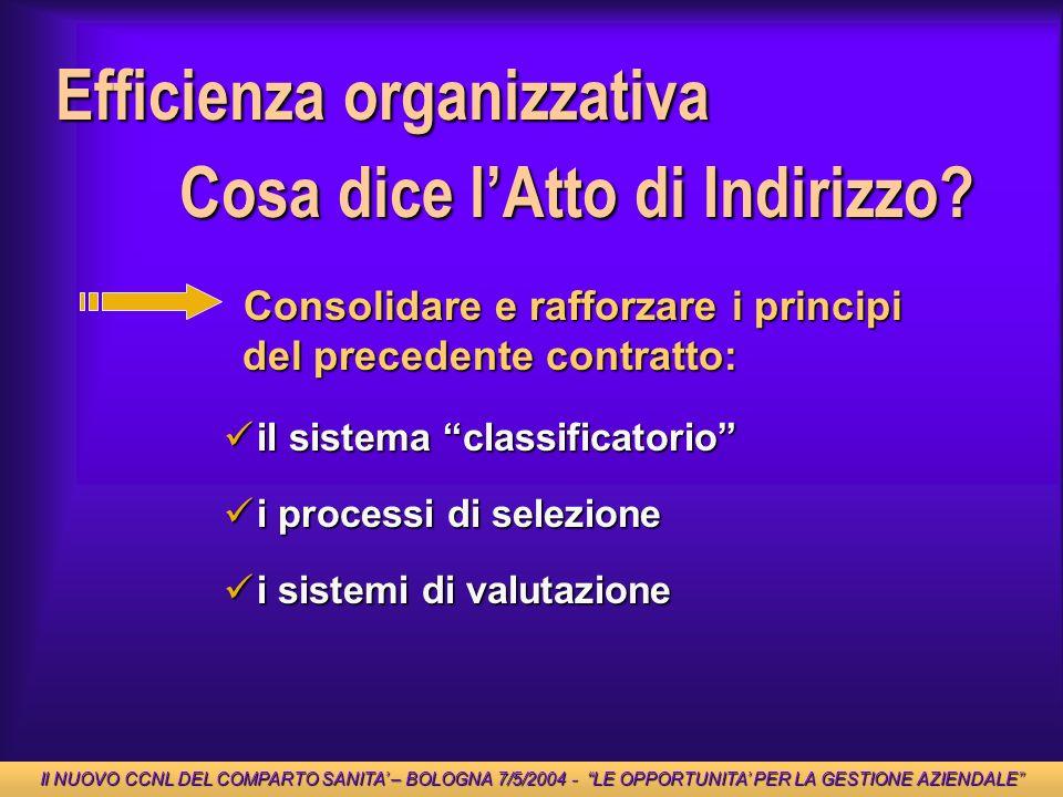 Efficienza organizzativa Consolidare e rafforzare i principi del precedente contratto: Consolidare e rafforzare i principi del precedente contratto: i