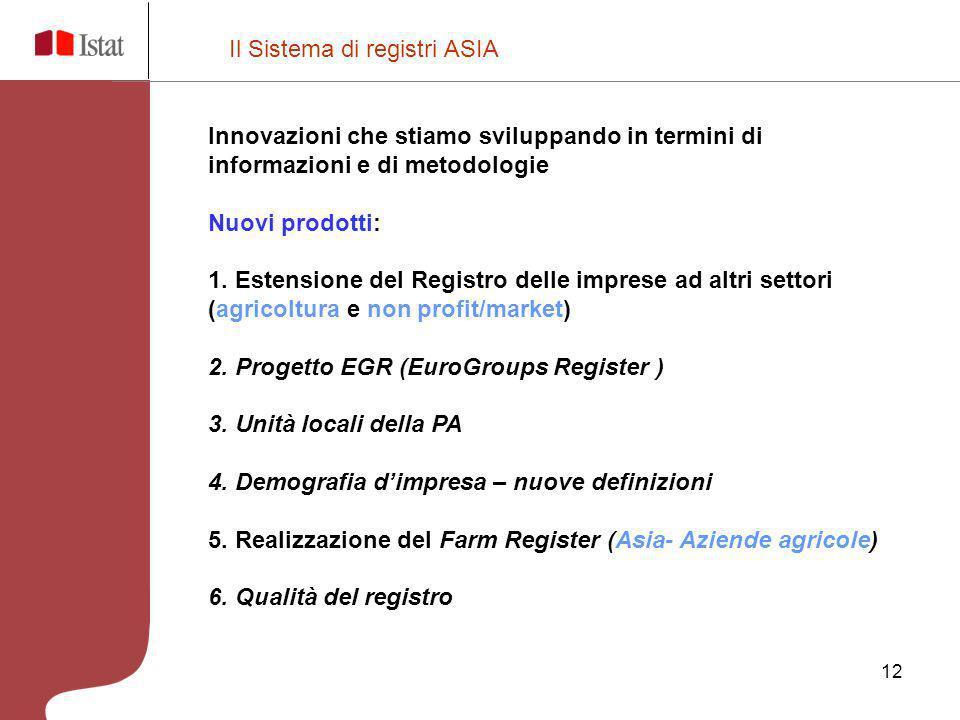12 Il Sistema di registri ASIA Innovazioni che stiamo sviluppando in termini di informazioni e di metodologie Nuovi prodotti: 1. Estensione del Regist