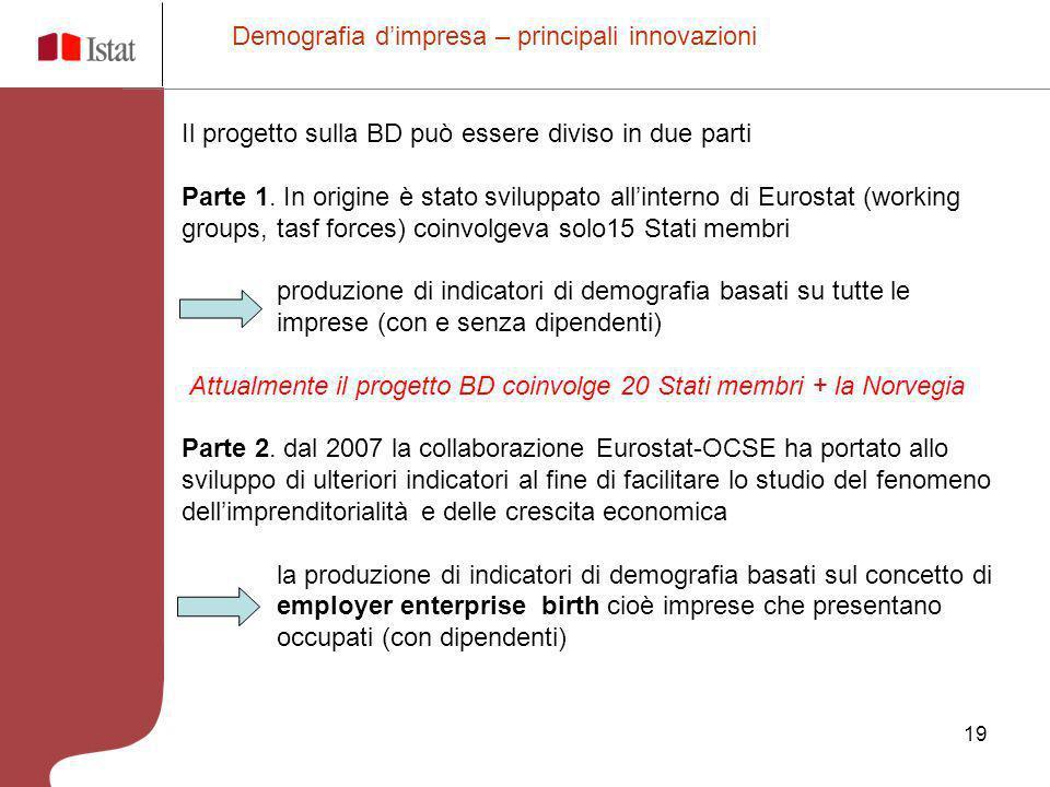 19 Il progetto sulla BD può essere diviso in due parti Parte 1. In origine è stato sviluppato allinterno di Eurostat (working groups, tasf forces) coi