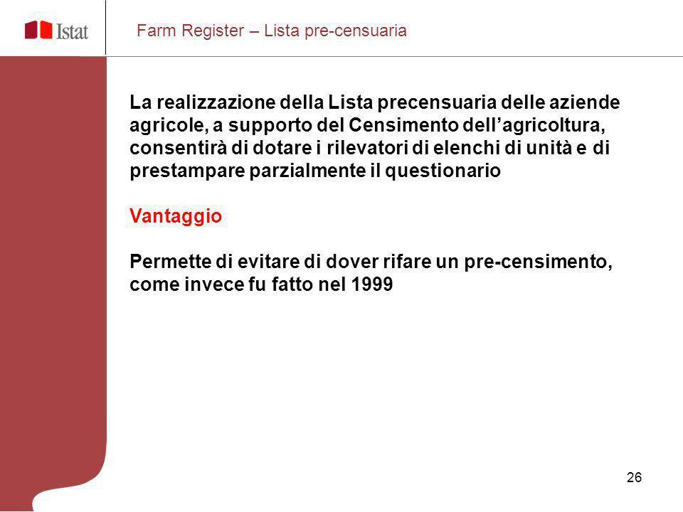 26 Farm Register – Lista pre-censuaria La realizzazione della Lista precensuaria delle aziende agricole, a supporto del Censimento dellagricoltura, co