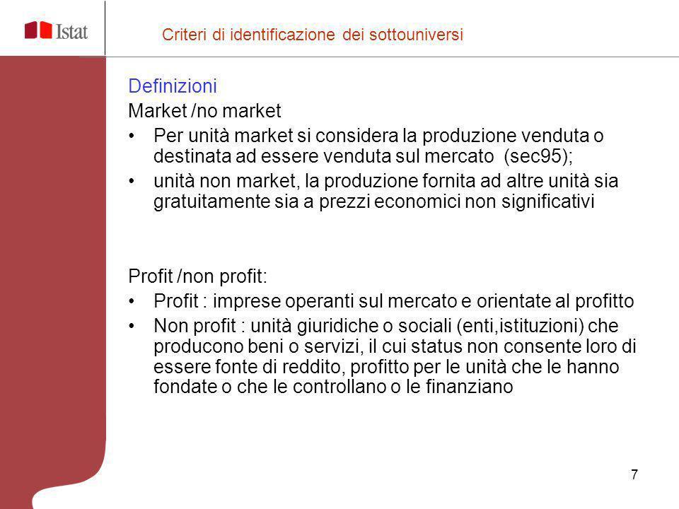 7 Definizioni Market /no market Per unità market si considera la produzione venduta o destinata ad essere venduta sul mercato (sec95); unità non marke