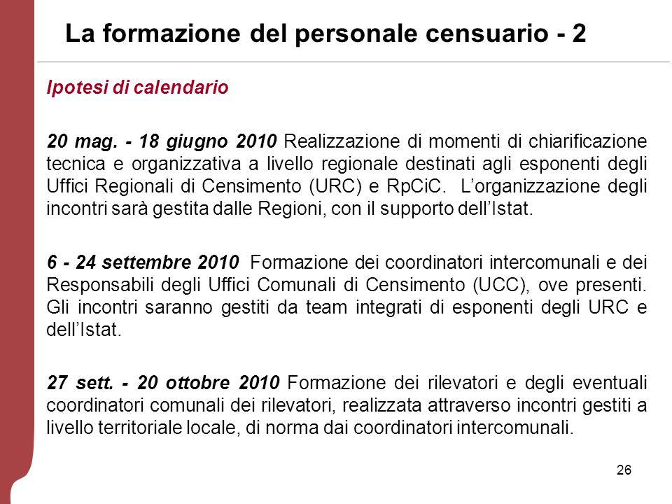 26 La formazione del personale censuario - 2 Ipotesi di calendario 20 mag.