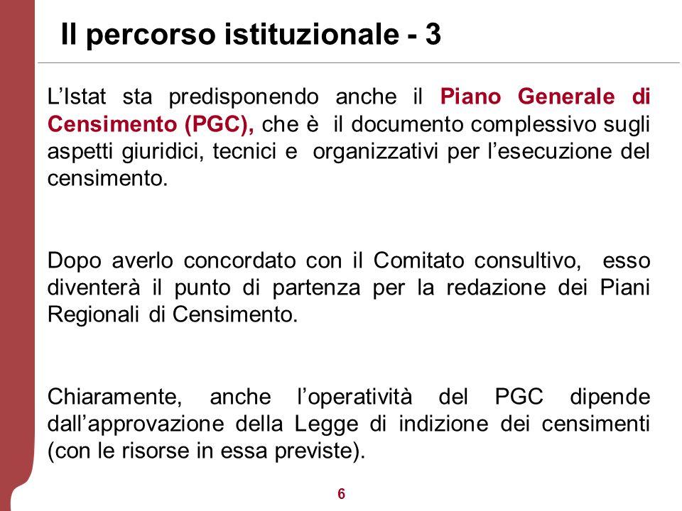 6 Il percorso istituzionale - 3 LIstat sta predisponendo anche il Piano Generale di Censimento (PGC), che è il documento complessivo sugli aspetti giuridici, tecnici e organizzativi per lesecuzione del censimento.