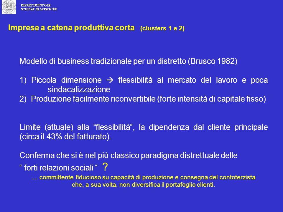 Modello di business tradizionale per un distretto (Brusco 1982) 1) Piccola dimensione flessibilità al mercato del lavoro e poca sindacalizzazione 2) Produzione facilmente riconvertibile (forte intensità di capitale fisso) Limite (attuale) alla flessibilità, la dipendenza dal cliente principale (circa il 43% del fatturato).