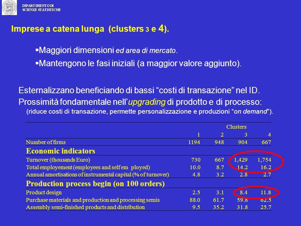 Imprese a catena lunga (clusters 3 e 4 ). Maggiori dimensioni ed area di mercato.